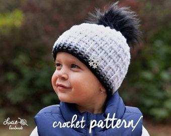 Crochet Hat PATTERN No.71 - Uni Bricks Winter Hat Crochet Pattern