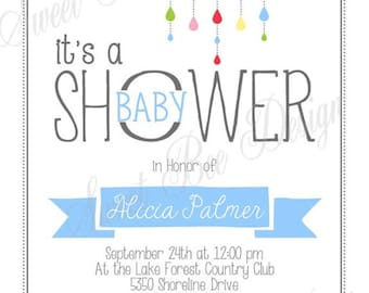 Raining Baby Shower Invitation - Custom Printable BOY OR GIRL