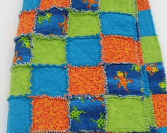 baby, toddler, youth blue, green and orange with geckos flannel rag quilt wuzzy