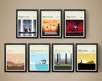Star Wars Movie Posters - Set of Prints, Movie Poster, Movie Print, Film Poster, Star Wars Poster, Star Wars Print
