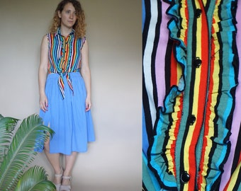 80's vintage women's colorful striped ruffled top