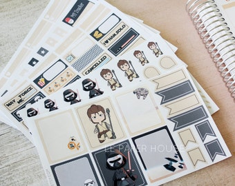 Star Wars Full Set Stickers, matte or glossy planner stickers, life planner stickers, erin condren filofax, mambi happy planner