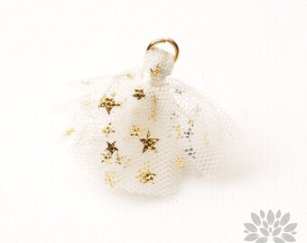 T024-WH// Gold Jumpring Star Pointed White Mesh Fabric Tassel Pendant, 4pcs