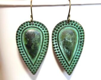 Patina Teardrop Dangle Earrings,Patina Jewelry,Verdigris Patina, Fall Jewelry, Fall Earrings, Gift for Her