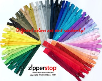 100 YKK Nylon Zippers 6 Inches #3 coil  Assorted Colors ( 100  ykk Zippers) Made in USA ~ZipperStop Wholesale Authorized Distributor YKK®