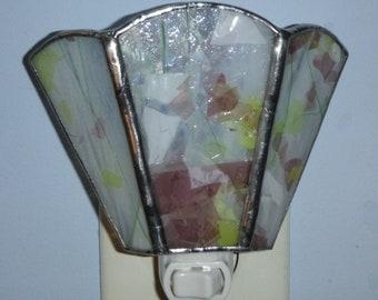 Stained glass nightlight - confetti glass, white glass, gifts under 25, housewarming gift, nightlight, night light, nitelite, new home