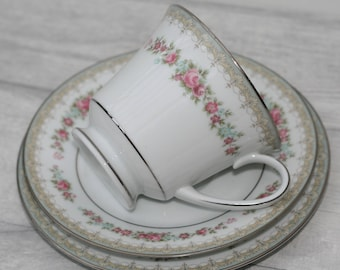 Noritake Pink Flower Trio - Tea Plate, Teacup and Saucer. Home decor.