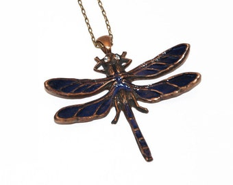 Dragonfly pendant, Insect Necklace, Butterfly jewelry, Glass enamel, Navy bug charm, Bohemian necklace, Bronze choker, Long Boho pendant