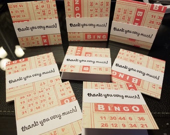 SALE 8 Mini Thank you cards hand stamped orders 3x3 Bingo red cards perfect for your Etsy orders