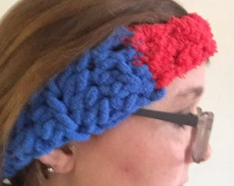 Spiderman superman themed red and blue ear warmer