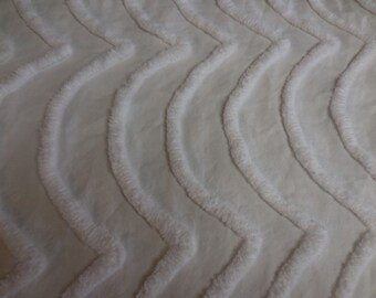 """WHITE on WHITE WAVES Vintage Chenille Bedspread Fabric - 18"""" X 41+"""" - #1"""