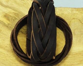 Leather bracelet. Braided bracelet. Mysterious braid. Leather cuff. Brown leather. Leather braid.