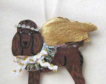 Hand-Painted POODLE CHOCOLATE Gold Feathered Wing Angel Wood Christmas Ornament.....Artist Original