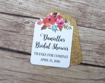 Set of 15+ Personalised Floral Thank You Tag - Wedding, Baby Shower, Favour tag, Bridal Shower Gift tag, Gold, Silver, Rose Gold Tags