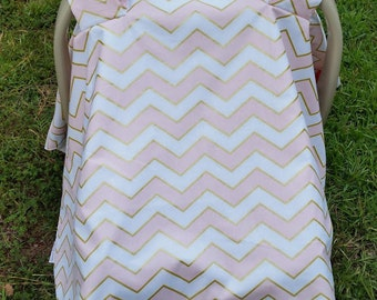 Baby Girl Car Seat Cover in Pink and Gold Chevron / Car Seat Tent / Car Seat Canopy / Glitz Metallic Chic Chevron Pearlized / Chic Car Seat