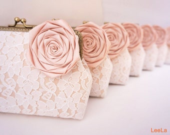 Blush Glamorous vintage wedding 7* Lace Clutches / Bridesmaid Clutch / Bridal Party / You Choose The Color Flower and Lining