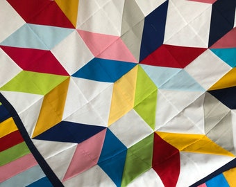 Carpenter Star Quilt Top - Unfinished / Boundless Solid Fabrics / gift for him or her / ready to quilt, lap quilt, wall hanging, craftsy