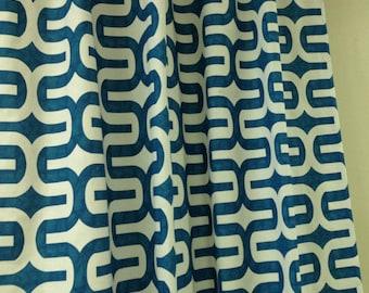 A pair ( two 50W x 96L panels) rod pocket drapes, embrace aqua blue and white, curtains, drapes