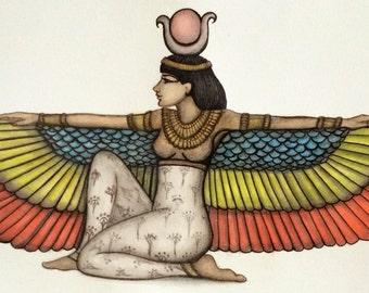Egyptian Winged Goddess Isis, Blank Greeting Card, Reproduction of Original Fine Art, 5x7 card, On Sale & Ships Free with Another Item