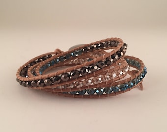 Natural Leather 3 Wrap with Brown and Blue Crystal