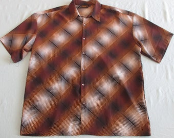 Funky Diamonds Print Men's 70s Disco Shirt by Mozini Collection in Browns and White & Black Size 2X
