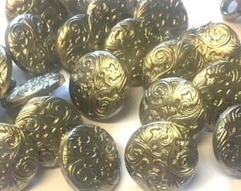 10 x silver buttons, metallic buttons, plastic buttons, metalised plastic, round buttons, vintage buttons, 15mm buttons, shirt buttons