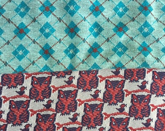 Vintage Double Knit Fabric. Red Owls. Blue
