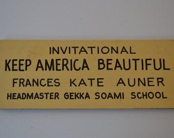 Garder l'Amérique belle école fait à la main signe Vintage