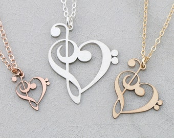 Treble Clef Bass Clef • Music Teacher Gift Piano Teacher Gift Charm Music Necklace • Music Note Necklace Band Teacher Appreciation Jewelry
