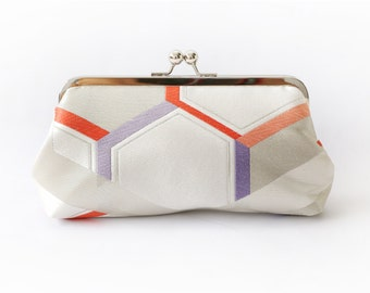 Vintage Japanese Obi Clutch Purse   Geometric Heaxagon in ivory, red and lilac