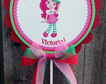 Personalized Large Centerpiece -Strawberry Girl -Birthday -Baby Shower -Dessert Table -Table Decoration -Photo Prop -Strawberry -Pink Green