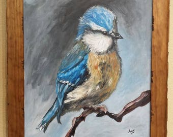 Eastern Bluebird oil on canvas painting