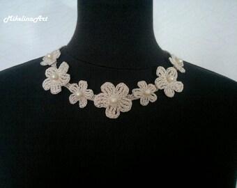 Crochet Flower Necklace,Crochet Neck Accessory,Flower Girl Necklace, Ivory, 100% Cotton.