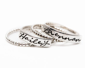 Stacking Name Rings - Stackable Name Rings - Gift for Mom - Sterling Silver Stacking Rings - Personalized - Gifts for Mom - Mother's Day