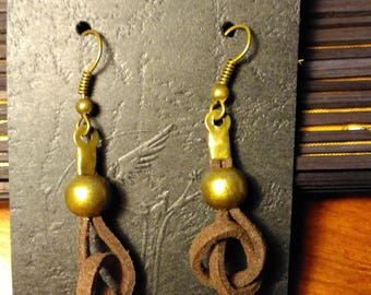Knotted leather strip earring and metal Ball