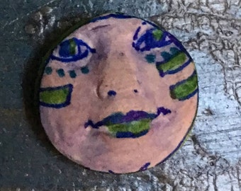 clay face jewelry craft supplies  handmade cabochon blue small round  woman mask  polymer  indings   doll parts head mask stripes tribal