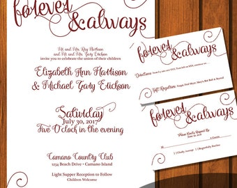 Forever & Always Wedding / Fairytale Wedding Suite / Maroon Wedding Invitation / Fairy tale  / White/ fairytale / Brick Red / Wedding