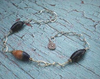 Solar tide ankle bracelet, orange sodalite, sterling silver, blue anklet, fine silver sun charm, unique jewelry by Grey Girl Designs on Etsy