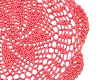 Red Coral hand dyed Crochet Doily Vintage lacy doily