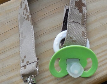 USMC Baby Military Baby Pacifier Holder US Marines Tan Marpat Fabric Pacifier Holder Made to Order USMC Camouflage Fabric Pacifier Holder