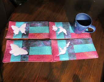BUTTERFLIES & HUMMINGBIRDS - 4 in 1 - Applique Quilted Mug Rug PDF E-Pattern