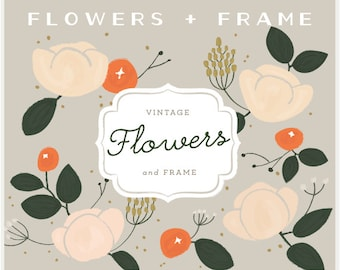 Vintage Flowers & Frame - PNG Files - Digital  Clip Art Set