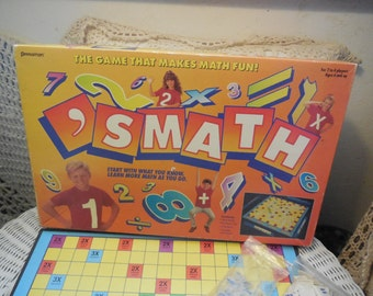 Smath The Game that makes Math Fun 1992 Pressman, Vintage Board Game, Vintage Game, Learning Game, Home Schooling,  :)