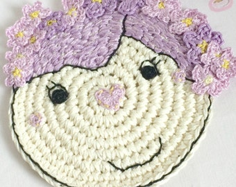 Lavender Flower Coaster - Crochet Coaster - Coaster with Flowers - Home Decor - Housewarming Gift - Mothers Day Gift - Nursery Decor