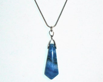 LOVELY Blue Crazy Lace Agate Pendant Necklace with 18.5 Inch Snake Chain