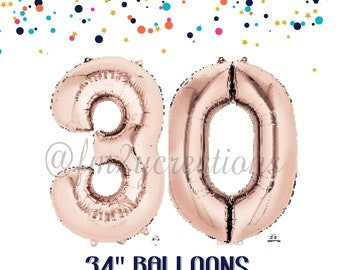 ROSE GOLD 30th Birthday Number Balloons | 30th birthday for her | Dirty 30 Party | Thirsty Thirty | 30th Birthday Rose GOLD Balloon Banner