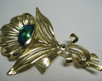 Flower Green Gold Brooch Vintage Pin