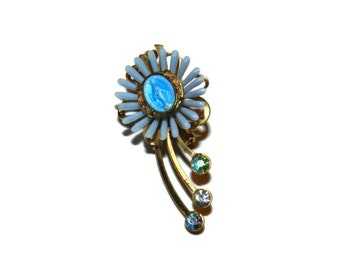 Religious Blue Flower Brooch, Blue Flower Pin, Religious Pin,
