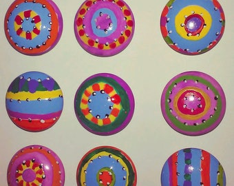 FIFTEEN whimsical brights hand painted knobs