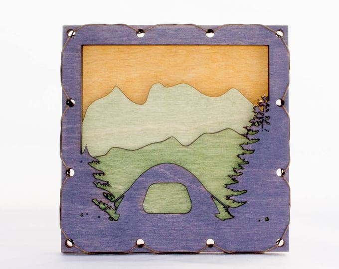 Camping Decor | Mountain Wall Art with Tent